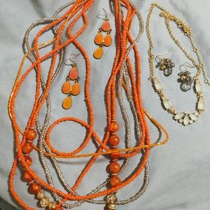 4pc statement necklace earing lot orange and blue